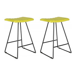 Safavieh - Akito Counter Stool  (Set Of 2) - Raise the bar for fashion in the kitchen or family room with the airy look and clean silhouette of the Akito counter stool. A comfy channel-quilted seat of citron green PU leather rests atop a thin A-line frame of iron supported by sturdy crossbars.