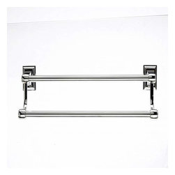 Top Knobs - Top Knobs: Stratton Bath 24 Inch Double Towel Rod - Polished Nickel - Top Knobs: Stratton Bath 24 Inch Double Towel Rod - Polished Nickel