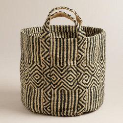 Black and White Jute Storage Basket -