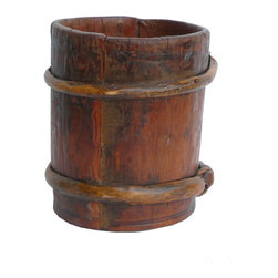 Chinese Round Tube Shape Wood Bamboo Container -