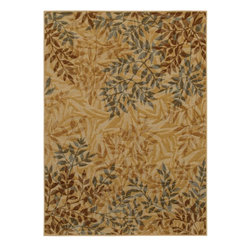 Mohawk Home - Mohawk Botanica Sylvara Brown Transitional Leaves 1'8 x 2'10 Rug (11481) - This rug's layered leaf design is a great way to add texture and depth to your decor.  A neutral color pallete makes this rug a great addition to any decor style. Printed on the same machines that manufacture one of the world