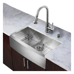 Vigo - All in One 30in.  Farmhouse Stainless Steel Kitchen Sink and Faucet Set - Modernize the look of your entire kitchen with a VIGO All in One Kitchen Set featuring a 30in.  Farmhouse - Apron Front kitchen sink, faucet, soap dispenser, matching bottom grid and sink strainer.