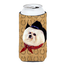 Caroline's Treasures - Bichon Frise Dog Country Lucky Horseshoe Tall Boy Koozie Hugger - Bichon Frise Dog Country Lucky Horseshoe Tall Boy Koozie Hugger Fits 22 oz. to 24 oz. cans or pint bottles. Great collapsible koozie for Energy Drinks or large Iced Tea beverages. Great to keep track of your beverage and add a bit of flair to a gathering. Match with one of the insulated coolers or coasters for a nice gift pack. Wash the hugger in your dishwasher or clothes washer. Design will not come off.