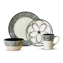 Pfaltzgraff Everyday - Pfaltzgraff Everyday Gramercy 16-piece Dinnerware Set - This Pfaltzgraff Everyday Gramercy 16-Piece Dinnerware Set brings a boldly eclectic look to your tabletop. White stoneware pieces are adorned with sketch line floral medallion patterns that command attention.