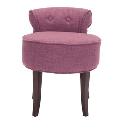 Safavieh - Georgia Vanity Stool - Rose - The adorable Georgia vanity chair is petite enough to tuck in a bathroom or bedroom, and brimming with feminine style. Graceful cherry mahogany-toned birch wood legs, deep seat and diminutive button tufted back are designed for indulgent comfort. Upholstered with berry rose viscose/polyester blend fabric with self-welting for a decorator touch.