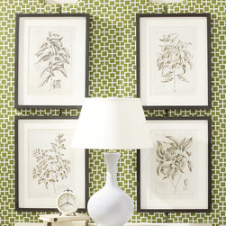 Ballard Designs - Set of 4 Sepia Framed Botanical Prints - Digitally printed on fine art paper. Brown wood frame. Egg white mat. Glass front. Award-winning designer and devoted traveler, Suzanne Kasler, loves to shop to the flea markets and out of the way lanes of Europe. These sepia toned botanical art prints were reproduced from 19th century botanical bookplates Suzanne discovered on a buying trip to Paris.Sepia Frame Art print features:. . . .