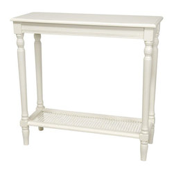 "Oriental Furniture - 29"" Classic Design Console Table - White - Wood and woven cane console table in a long rectangular size perfect for behind sofas or along a hallway. Cane lower shelf adds stability to the lathed legs, as well as extra storage space or an interesting pattern accent. Display family photos, a few books or potted plants, or arrange with a silk table runner and hung mirror for tasteful entryway decor."