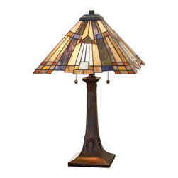 Quoizel - Quoizel TFT16191A1VA Inglenook Traditional Tiffany Table Lamp - This Arts and Crafts style features a pyramid shade with a stepped border for added visual interest.  The classic geometric design includes art glass in shades of amber, cream and tan, accented with glass pieces in sapphire blue and rich green.  The linear geometric details on the bronzed base makes it a perfect complement to the shade.