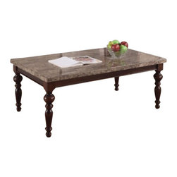 "ACMACM80225 - Bandele Emparedora Marble Top Coffee Table with Turned Legs and Dark Finish Wood - Bandele emparedora marble top coffee table with turned legs and dark finish wood frame. End table available separately. Coffee table measures 50"" x 30"" x 21"" H. Some assembly required."