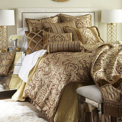 "Austin Horn Classics - Austin Horn Classics Pieced Throw with Bullion Fringe - Bronze ""Botticelli"" bed linens are an elaborate mixture of patterns, textures, and trimmings. Made in the USA of polyester/rayon, rayon velvet, and silk. Dry clean. Hand-quilted comforters, edged with cording, have moire backing. Striped, gathered dus..."