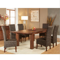 Modus Furniture - Modus Meadow 7 Piece Solid Wood Extending Dining Room Set in Brick Brown - Inspired by the bold  industrial character of an early 20th century work table  the Meadow dining collection brings warmth  individuality and character to your space.  Constructed entirely from solid Acacia  a hardwood known for stunning grain patterns and rich contrasting colors  each piece is wire brushed  hand-glazed and hand-finished  creating wood surfaces that radiate texture and depth of color.  Matching chairs are finely hand woven from Water Hyacinth  a sustainable and renewable fiber. The table expands from 63 to 95 inches  comfortably seating up to 8 guests for intimate or larger gatherings.   With features such as mortise and tenon corners  English dovetail drawer joinery and sinuous spring chair seats  the Meadow collection mingles aesthetics with rugged durability  making it an easy centerpiece for anyone designing a new dining room. For the minimalist  bold lines call only for complementary colors and dinnerware of your choosing. For the more creative  the multi-tonal character of hand-hewn Acacia lumber and woven fiber unlocks a broad spectrum of compatible colors and textures. Natural ambience is easily embellished with modern  traditional  rustic or lodge-styled pieces  patterns  and accessories.