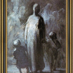 """Art MegaMart - Honore Daumier Mother - 18"""" x 24"""" Framed Premium Canvas Print - 18"""" x 24"""" Honore Daumier Mother framed premium canvas print reproduced to meet museum quality standards. Our Museum quality canvas prints are produced using high-precision print technology for a more accurate reproduction printed on high quality canvas with fade-resistant, archival inks. Our progressive business model allows us to offer works of art to you at the best wholesale pricing, significantly less than art gallery prices, affordable to all. This artwork is hand stretched onto wooden stretcher bars, then mounted into our 3 3/4"""" wide gold finish frame with black panel by one of our expert framers. Our framed canvas print comes with hardware, ready to hang on your wall.  We present a comprehensive collection of exceptional canvas art reproductions by Honore Daumier."""