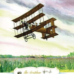 """Buyenlarge.com, Inc. - The Aeroplane, 1909- Fine Art Giclee Print 16"""" x 24"""" - Biplanes or planes with Double sets of Wings during the period of early aviation"""