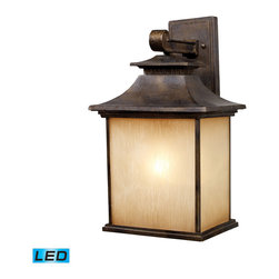 Elk Lighting - EL-42182/1-LED San Gabriel LED 1-Light Outdoor Sconce in Hazelnut Bronze - During the late 1800�s and early 1900�s, missionary padres from spain created the california mission style, which was a simplified version of centuries old spanish architecture.�This style was known for its simplicity of form with minimal ornamentation.� The San Gabriel Collection pays homage to this design philosophy with smooth, architectural lines and a choice of hazelnut bronze or tarnished silver finishes. - LED offering up to 800 lumens (60 watt equivalent) with full range dimming. Includes an easily replaceable LED bulb (120V).