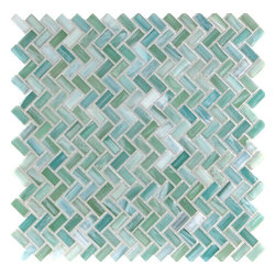 "Glass Tile Oasis - Cerulean Shimmer Herringbone Green Pool Frosted Glass - Sheet size:  1 Sq. Ft.   Tiles per sheet:  256    Tile thickness:  1/4""   Grout Joints:  1/8""   Sheet Mount:  Paper Face    MADE TO ORDER-LEAD TIME 2 WEEKS     Sold by the sheet    - Brilliant transparent glass combed through with coordinating opaque colors  and featuring a contemporary smooth-edge. Each piece is hand-poured and unique  designed with a certain amount of variation and variegation of color  tone  texture and shade for a distinctive appearance. Our handmade process incorporates creases  wrinkles  waves  bubbles and other surface effects indicative of handmade glass  all designed to capture light and enhance the final beauty of the project."