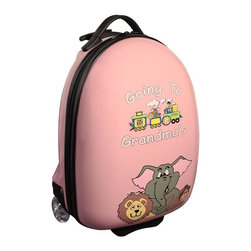 """Mercury Luggage - Children's Carry-on Luggage in Pink - Carry-on approved. Clear in-line wheels. Lined interior . Internal zippered divider . Fun, bright and durable. 12 in. L x 9 in. W x 18 in. H (4 lbs)They will enjoy the pictures of the animals on the front and back and so will the Parents & Grandparents. It has a a push button adjustable telescopic handle & pulls out to (18 in. or 10 in.), and a top center carry handle, 2.5 in. Clear Plastic in-line skate wheels with protective guards. On the bottom is a foot-support for stand alone balance, has a """"U"""" shaped zipper opening. The inside has has nylon lining, tie down straps on one side with a """" U """" shaped zipper on the other side to protect personal items."""