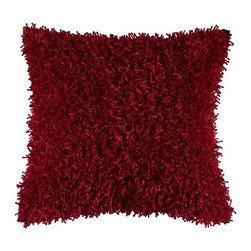 Silver Nest - Fringe Red Down Pillow - Polyester Shag Fabric. Tufted Fibers. Pillow Cover with Hidden Zipper. Includes Down Pillow insert. Priced individually, must be sold in set of 2.