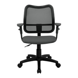 """Flash Furniture - Mid-Back Mesh Task Chair with Gray Fabric Seat and Arms - If you're in need of a comfortable chair with a breathable mesh back this is the chair. The modern design of the back will add a contemporary look to your office space. This chair is height adjustable to adapt to your working environment and the height adjustable arms allow you to adjust to your comfort level.; Contemporary Task / Computer Chair; Mid-Back Design; Breathable and Curved Black Mesh Back; Ergonomically Contoured Passive Lumbar Support; 3"""" Thick Gray Fabric Seat; Height Adjustable Arms; Pneumatic Seat Height Adjustment; Heavy Duty Nylon Base; Dual Wheel Casters; Assembly Required: Yes; Country of Origin: China; Warranty: 2 Years; Weight: 30 lbs.; Dimensions: 34 - 38""""H x 22""""W x 22""""D"""