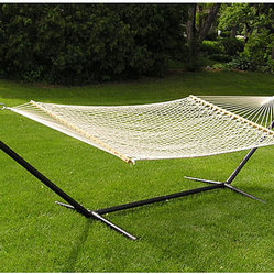 Extra-large 2-person White Rope Cotton Hammock Set