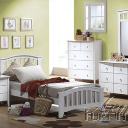 Acme Furniture - San Marino White Bed with Slatted Headboard and Footboard - 091 - Mission style headboard and footboard