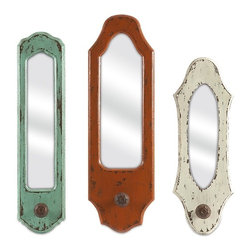 "IMAX - Gaylynn Mirror w/ Hanger - Set of 3 - This set ofeethr  mirrors is a great way to add color to small wall areas! In fun antiqued shades and slim shapes, each mirror includes drawer pull inspired hangers for your favorite apron, cooking utensils or key chains. Item Dimensions: (14.75-16.75-18.25""h x 1.5-1.5-1.5""w x 4-5-5.5"")"