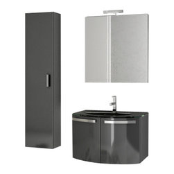 ACF - 28 Inch Glossy Anthracite Bathroom Vanity Set - Set Includes: Vanity Cabinet (2 Doors), high-end fitted ceramic sink, wall mounted vanity mirror, tall storage cabinet.