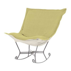 Howard Elliott Sterling Willow Scroll Puff Rocker - Titanium Frame - Nothing less than the most comfortable chair on the planet! The soft luxury and style of our Puff Collection is a great addition to any room. All Puff cushions are constructed with luxurious foam for optimal comfort. Like most HEC items, Puff cushions are removable for easy cleaning, are interchangeable between frames.