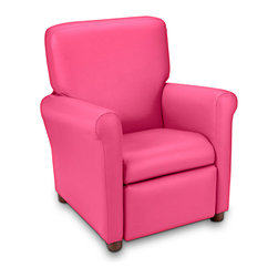 Ace Bayou - Ace Bayou Juvenile Recliner in Urban Fuchsia Petal Vinyl - High quality vinyl fabric, Recline seating position, Great for reading, playing video games, watching TV, relaxing.