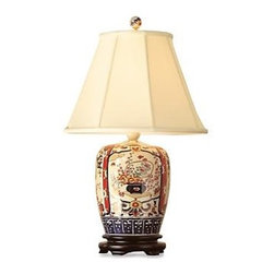 Ginger Jar Lamp - Japanese Imari design has been a sought after art form in porcelain wares for centuries.  Bring a touch of this gorgeous design into your home with this hand-painted porcelain lamp depicting scenes from nature in vibrant colors.