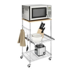 Whitmor Supreme Microwave Cart - A microwave cart would be great for a dorm room. This one has just enough storage space for hanging cookware and storing other small appliances.