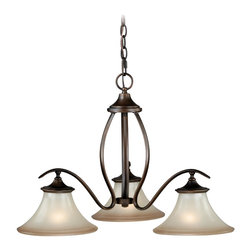 Vaxcel - Sonora 3 Light Single Tier Chandelier - Champagne Glass - Bulb Base: Medium (E26). Bulb Wattage: 100. Bulb Count: 3. Bulbs Not Included
