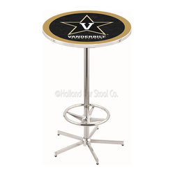 Holland Bar Stool - Holland Bar Stool L216 - 42 Inch Chrome Vanderbilt Pub Table - L216 - 42 Inch Chrome Vanderbilt Pub Table  belongs to College Collection by Holland Bar Stool Made for the ultimate sports fan, impress your buddies with this knockout from Holland Bar Stool. This L216 Vanderbilt table with retro inspried base provides a quality piece to for your Man Cave. You can't find a higher quality logo table on the market. The plating grade steel used to build the frame ensures it will withstand the abuse of the rowdiest of friends for years to come. The structure is triple chrome plated to ensure a rich, sleek, long lasting finish. If you're finishing your bar or game room, do it right with a table from Holland Bar Stool.  Pub Table (1)