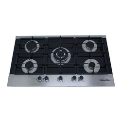 "WindMax - 36"" Black Electric Tempered Glass Built-in Kitchen 5 Burner Gas Cooktop - Gas Type: LPG/NG (Default LPG gas, If you want to connect with NG gas, please remove the LPG gas kit.))"