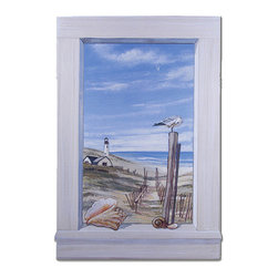 None - Ocean Scene with Seagulls Window Scene - This striking,blue home accent piece would bring a hint of charm into any room of your choice. Ideal for a bathroom or bedroom,this original work by muralist Louise Cartter would instantly brighten up an empty window with its cheerful seaside scene.