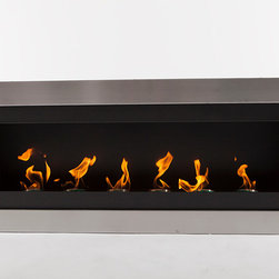 "EcoPyro SF-01 Hogadon Wall Inserted Ethanol Fireplace 47"" Wide, Stainless Steel/ - Expansive and modern. Hogadon features 6 round burners evenly spaced over its expansive width. The low profile stainless steel rectangle face sits a mere 5/8"" off the wall. Sleek and extensive, Hogadon insets into the wall, making this eco friendly statement a permanent fixture in your home. This clean burning fireplace provides a crisp modern appearance. Hogadon is expansive and features a streamlined profile at just 20″ tall extending about 4′ in length. 6 evenly spaced round burners light an impressive display of fire. Easy to maintain and environmentally friendly, the precisely brushed stainless steel exterior sits in sharp contrast to the Matte Chimney Black interior. Hogadon is an eco friendly authentic home fireplace that inserts into the wall without the maintenance cost and hassle of traditional options."