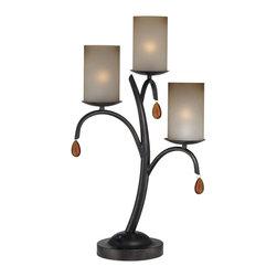 Lite Source - 3 Lites Table Lamp - Dark Bronze/Glass Shade - 3 Lites Table Lamp - Dark Bronze/Glass Shade
