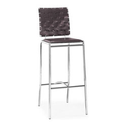 Zuo Modern - Zuo Modern Criss Cross Bar Chair, Espresso, Set of 2 - With three height choices, the Criss Cross works in any decor setting, modern or transitional. It has leatherette back straps and a flat seat with a chrome steel tube frame.