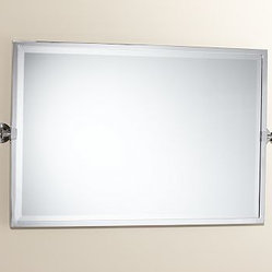 Kensington Pivot Mirror Extra Large Wide Rectangle Polished Nickel Finish With A Simple
