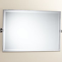 Kensington Pivot Mirror, Extra Large Wide Rectangle, Polished Nickel finish - With a simple, wide design and functional details, our best-selling Kensington Mirror is constructed for easy installation. Thick-plated beveled mirror is framed in aluminum for unrivaled strength. Sturdy wall brackets allow it to tilt and stay put at the perfect angle. Rectangular size is shown in Polished Nickel finish; x-large rectangle or x-large wide rectangle are is also available. Mounting hardware is included. View our {{link path='pages/popups/fb-bath.html' class='popup' width='480' height='300'}}Furniture Brochure{{/link}}. Catalog / Internet Only.