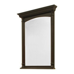 """30"""" Jameson Vanity Mirror - Made to complement the Jameson Vanity Cabinet, this mirror features elegant beveled glass and matching architectural turnings.  Made from oak wood with a soft black finish."""