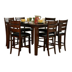 Homelegance - Homelegance Ameillia 7 Piece Extension Square Counter Height Table Set - The solid, clean lines of the Arts & Crafts movement are interpreted from modern times in the Ameillia Collection. Substantial tapered legs and the birch veneer, in a dark oak finish, complement this simple and refined dining option.