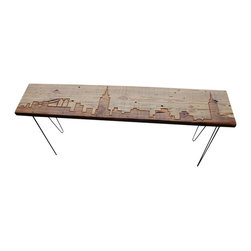 "Urban Wood Goods - New York Reclaimed Wood Console Table -Thick ,84""x11.5"" - New York reclaimed wood console table features the beautiful New York skyline etched into the top and accented with mid-century hairpin legs. Each skyline bench is made of a single plank of salvaged old growth Douglas Fir that has been salvaged from a de-constructed factory,barn or home in the Chicago area or surrounding area."