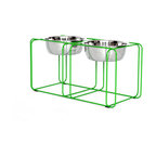 Doca Pet - Wire and Dine, Medium - Feed your Fido in style and comfort with this wire-frame doggie diner. The contemporary wire frame recedes into your decor. Made in Chicago, it includes two gleaming dog dishes.