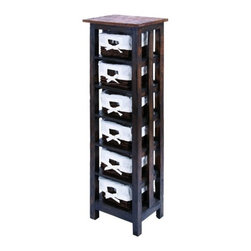 """BZBZ38320 - Traditional 50"""" Wooden Rattan Storage Table with 6 Shelves - Traditional 50"""" wooden rattan storage table with 6 shelves. This wooden rattan storage table is crafted to meet the needs of ample storage space and a visual appeal. It comes with a dimension of 50"""" H x 16"""" W x 12"""" D."""