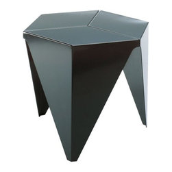 Vitra - Prismatic Table by Vitra - You won't find a single curve in the Vitra Prismatic Table. It is all sharp, pure angles, with three legs and a hexagonal-segmented top formed out of folded aluminum (inspired by the traditional art of Japanese paper folding), and coated entirely in a smooth, durable powder coat. Originally designed by Isamu Noguchi in 1957. Founded in Switzerland in 1950, Vitra produces intelligent and inspiring furniture and accessories for the home, office and other public spaces. Ever mindful of the importance of sustainability in design, Vitra creates furnishings with high quality and versatile style that ensures functional and aesthetic enjoyment for the long term.