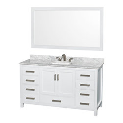 "Wyndham Collection - Sheffield 60"" White Single Vanity w/ Carrera Marble Top & Undermount Oval Sink - Distinctive styling and elegant lines come together to form a complete range of modern classics in the Sheffield Bathroom Vanity collection. Inspired by well established American standards and crafted without compromise, these vanities are designed to complement any decor, from traditional to minimalist modern. Available in multiple sizes and finishes."