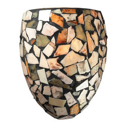 ELK Lighting - ELK Lighting 60019-1 Trego 1 Light Wall Sconces in Dark Rust - A random pattern of individually cut stone pieces combine for a richly textured mosaic design. When illuminated, soft warm hues of light are emitted through the stone while functional light emanates from the fixture. Choose from tea-stained or multi-colored stone in dark rust hardware, or tan stone with satin nickel hardware.