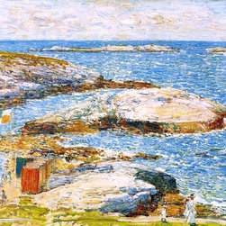 "Frederick Childe Hassam Bathing Pool, Appledore  Print - 16"" x 20"" Frederick Childe Hassam Bathing Pool, Appledore premium archival print reproduced to meet museum quality standards. Our museum quality archival prints are produced using high-precision print technology for a more accurate reproduction printed on high quality, heavyweight matte presentation paper with fade-resistant, archival inks. Our progressive business model allows us to offer works of art to you at the best wholesale pricing, significantly less than art gallery prices, affordable to all. This line of artwork is produced with extra white border space (if you choose to have it framed, for your framer to work with to frame properly or utilize a larger mat and/or frame).  We present a comprehensive collection of exceptional art reproductions byFrederick Childe Hassam."
