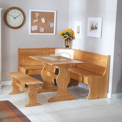 Linon - Linon Chelsea Breakfast Corner Nook - LHD390 - Shop for Dining Sets from Hayneedle.com! Sit down snuggle up and enjoy a down-home country breakfast in the Linon Chelsea Breakfast Corner Nook one of our most popular seating options. This set seats up to six people while conserving space by tucking away neatly in a corner. It can be assembled in a right-facing or left-facing configuration to suit the needs of your space. Crafted from durable Brazilian pine in your choice of finish this charming dining set includes a bench a table and a corner seating unit. Dimensions:Corner Seating Unit: 67.24L x 51.5W x 33.87H inchesTable: 43.31L x 27.9W x 29.75H inchesSeparate Side Bench: 43.31L x 12W x 17.18H inches About Linon Home DecorLinon Home Decor Products has established a reputation in the market for providing the best trend-right products at the right price while offering excellent quality style and functional furnishings to every room in the home. Linon offers a broad selection of furnishings for today's discriminating customer. They offer outstanding values for every room; a total commitment of quality service and value that is unsurpassed in their industry.