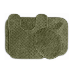 None - Enliven Deep Fern Textured 3-piece Bath Rug Set - Sophisticated yet durable,machine washable and soft,these Enliven textured rugs bring design and comfort to your bathroom. The bath mats are created from durable nylon with non-skid latex backing for safety.